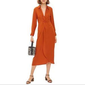 NWT Topshop Twist Front Midi Dress Size 12
